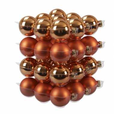 36x glazen kerstballen mat/glans goudsbloem oranje 6 cm