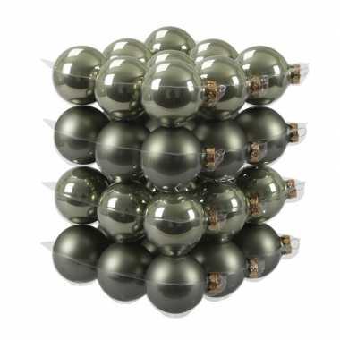 36x glazen kerstballen mat/glans graniet groen 6 cm