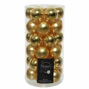 36x gouden kleine glazen kerstballen 4 cm mat en glans