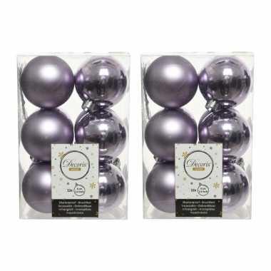 36x kunststof kerstballen glanzend/mat lila paars 6 cm kerstboom versiering/decoratie