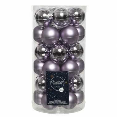36x lila paarse kleine glazen kerstballen 4 cm mat en glans