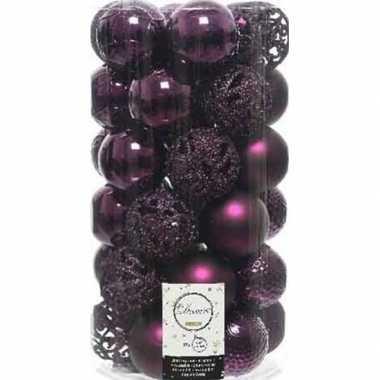 37x kunststof kerstballen mix aubergine paars 6 cm kerstboom versiering/decoratie