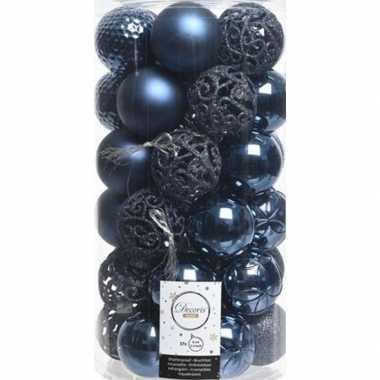 37x kunststof kerstballen mix donkerblauw 6 cm kerstboom versiering/d