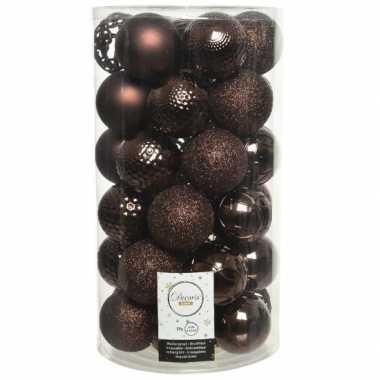 37x kunststof kerstballen mix donkerbruin 6 cm kerstboom versiering/decoratie