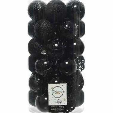 37x kunststof kerstballen mix zwart 6 cm kerstboom versiering/decoratie