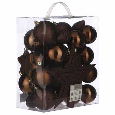 39x kunststof kerstballen 8 cm met ster piek kastanje bruin