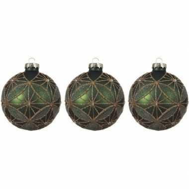 3x glazen kerstballen mat donkergroen/gouden glitters 8 cm kerstboom versiering/decoratie