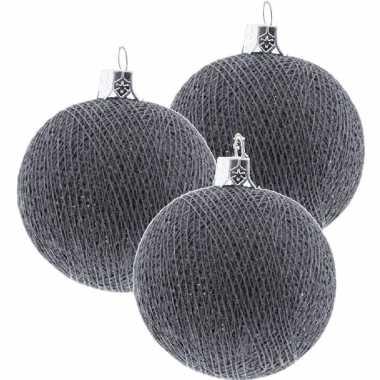 3x grijze cotton balls kerstballen decoratie 6,5 cm