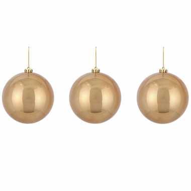3x grote kunststof kerstballen licht koper 15 cm