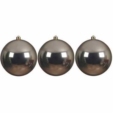 3x grote raam/deur/kerstboom decoratie champagne beige kerstballen 14 cm glans