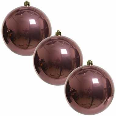 3x grote raam/deur/kerstboom decoratie oud roze kerstballen 20 cm glans