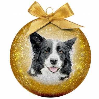 3x huisdieren kerstballen met border collies 8 cm