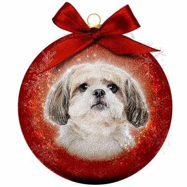 3x huisdieren kerstballen met shih tzu hondje 8 cm