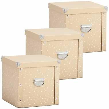 3x opruimdozen/boxen voor 27 kerstballen goud 30 x 30 cm