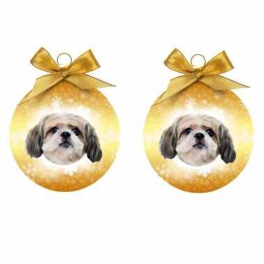 3x stuks kerstboomversiering kerstballen shih tzu hondjes 8 cm