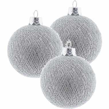3x zilveren cotton balls kerstballen decoratie 6,5 cm