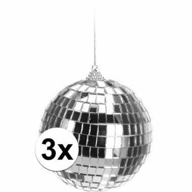 3x zilveren disco kerstballen 10 cm