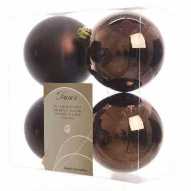 4-delige kerstballen set bruin