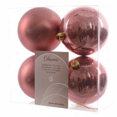 4 delige kerstballen set oud roze