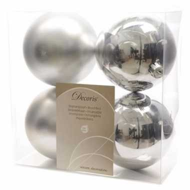 4-delige kerstballen set zilver