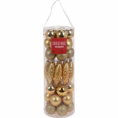 40x glans/mat/glitter kerstballen/ijspegels goud 6 cm kunststof kerstboom versiering/decoratie