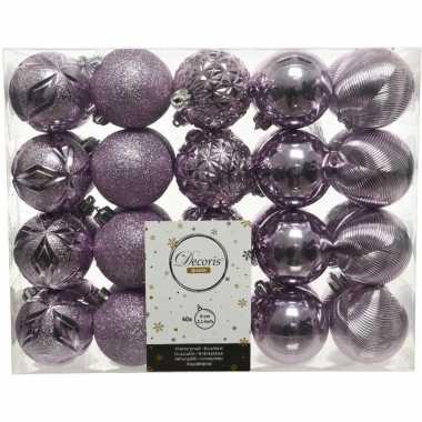 40x kunststof kerstballen mix lila paars 6 cm kerstboom versiering/decoratie