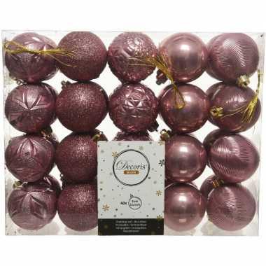 40x kunststof kerstballen mix oud roze 6 cm kerstboom versiering/decoratie