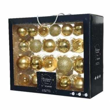 42x glazen kerstballen glans/mat/glitter goud 5-6-7 cm kerstboom versiering/decoratie