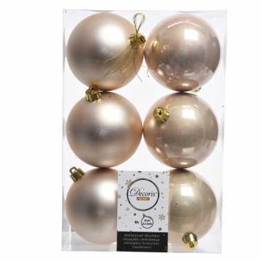 42x kunststof kerstballen glanzend/mat licht parel/champagne 8 cm kerstboom versiering/decoratie