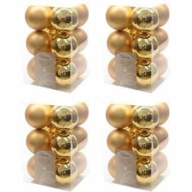48x kunststof kerstballen glanzend/mat goud 6 cm kerstboom versiering/decoratie