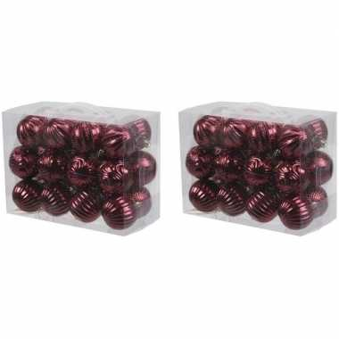 48x kunststof kerstballen met ribbel 6 cm kerstboom versiering/decoratie bordeaux rood