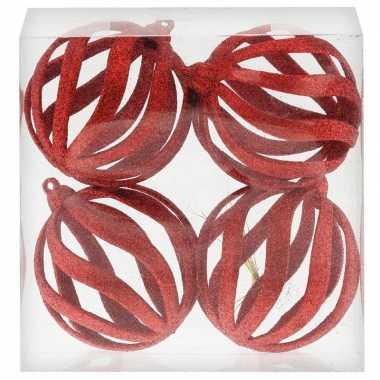 4x draad kerstballen rood met glitter 8 cm van kunststof/plastic