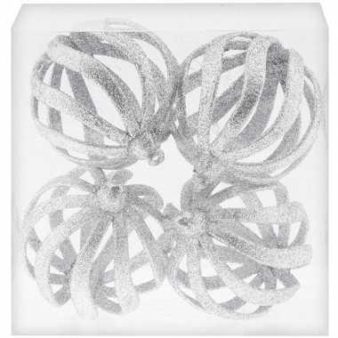 4x draad kerstballen zilver met glitter 8 cm van kunststof/plastic