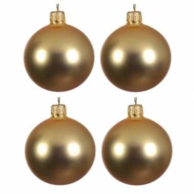 4x glazen kerstballen mat goud 10 cm kerstboom versiering/decoratie