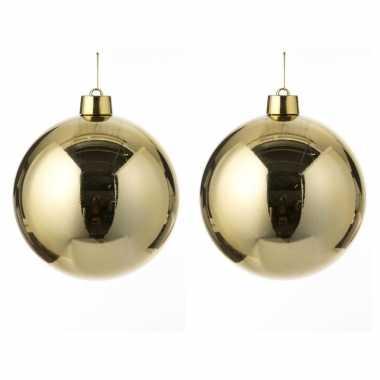 4x grote kunststof decoratie kerstballen goud 25 cm