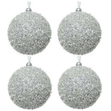 4x kerstballen zilver sneeuwbal 8 cm met glitterskunststof kerstboom versiering/decoratie
