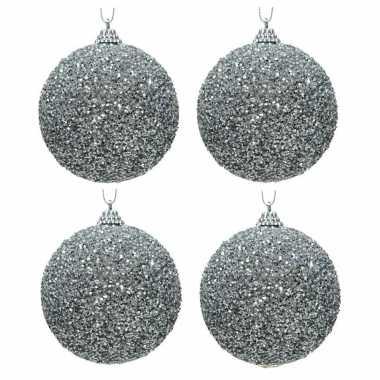 4x kerstballen zilveren glitters 8 cm met kralen kunststof kerstboom versiering/decoratie