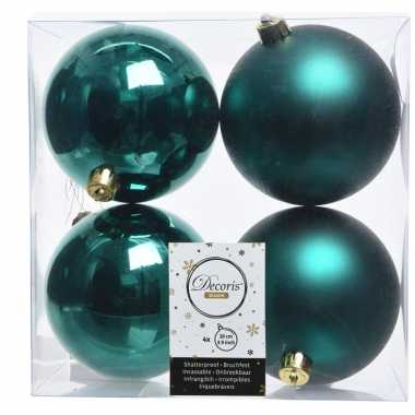 4x kerstversiering kerstballen smaragd groen kunststof 10 cm