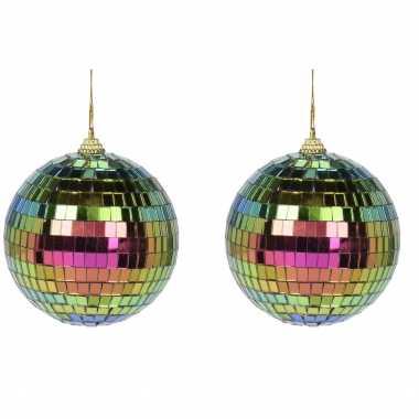 4x kerstversiering/kerstdecoratie gekleurde disco kerstballen 8 cm