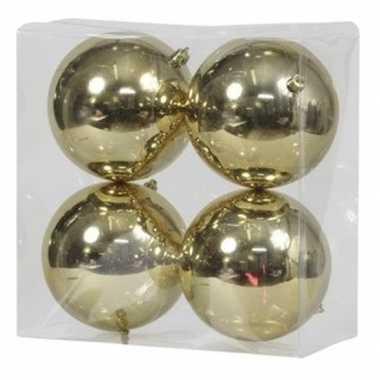 4x kunststof kerstballen glanzend goud 12 cm kerstboom versiering/decoratie