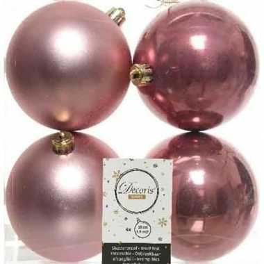 4x kunststof kerstballen glanzend/mat oud roze 10 cm kerstboom versiering/decoratie