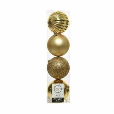 4x kunststof kerstballen mix licht goud 10 cm kerstboom versiering/decoratie
