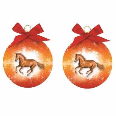 4x stuks kerstboomversiering kerstballen oranje met paarden