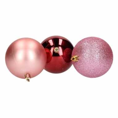 5 delige kerstballen set roze bordeaux