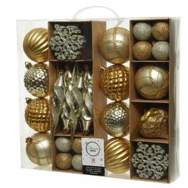 50x kunststof kerstballen mix goud 4-8-15 cm kerstboom versiering/decoratie