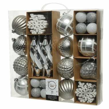 50x kunststof kerstballen mix zilver 4-8-15 cm kerstboom versiering/decoratie