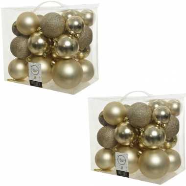 52x kunststof kerstballen mix champagne beige 6-8-10 cm kerstboom versiering/decoratie