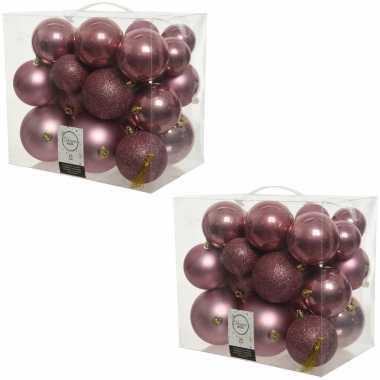 52x kunststof kerstballen mix oud roze 6-8-10 cm kerstboom versiering/decoratie