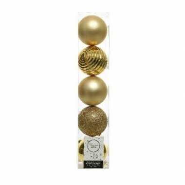 5x kunststof kerstballen mix licht goud 8 cm kerstboom versiering/dec