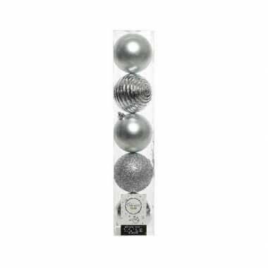 5x kunststof kerstballen mix zilver 8 cm kerstboom versiering/decorat